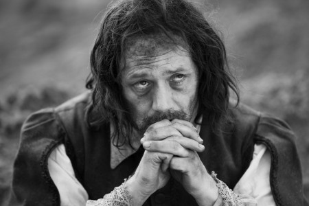 "Reece Shearsmith offers a whiny prayer as Whitehead in Ben Wheatley's ""A Field in England"" (2014)."